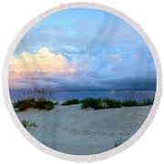 Storm Of Pastels Round Beach Towel