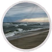 Storm Off The Coast Round Beach Towel
