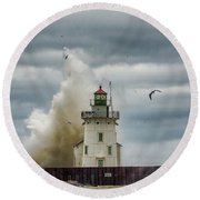 Storm On Lake Erie Round Beach Towel