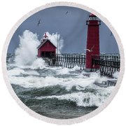 Storm On Lake Michigan By The Grand Haven Lighthouse With Flying Gulls Round Beach Towel