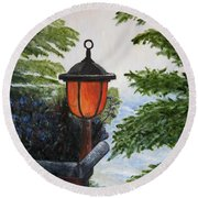 Round Beach Towel featuring the painting Storm On Lake Of The Woods by Marilyn  McNish
