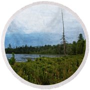 Storm On Raquette Lake Round Beach Towel