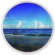 Round Beach Towel featuring the photograph Storm On The Horizon by Gary Wonning