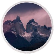 Storm On The Peaks Round Beach Towel by Andrew Matwijec