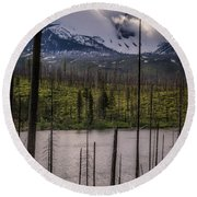Round Beach Towel featuring the photograph Storm On Three Fingered Jack by Cat Connor