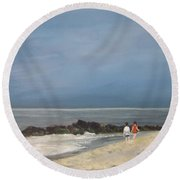 Storm Out To Sea Round Beach Towel