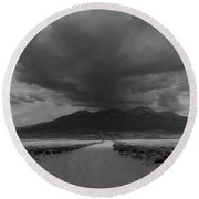 Storm Over Blanca Peak Round Beach Towel