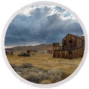 Storm Over Bodie Round Beach Towel