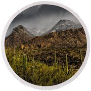 Storm Over Catalinas 15 Round Beach Towel