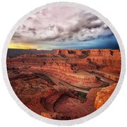 Storm Over Dead Horse Point Round Beach Towel