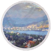 Storm Over Dilesi And Evia Island  Round Beach Towel