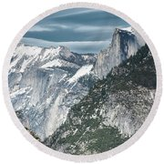 Round Beach Towel featuring the photograph Storm Over Half Dome by Sandra Bronstein