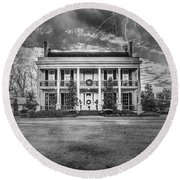 Round Beach Towel featuring the photograph Storm Over Loyd Hall Plantation by Andy Crawford