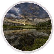 Storm Over Madison River Valley Round Beach Towel