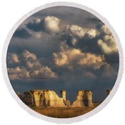 Round Beach Towel featuring the photograph Storm Over Monument Rocks by Darren White