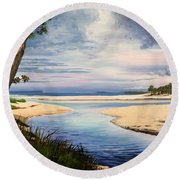 Storm Over Moona Moona Creek Round Beach Towel