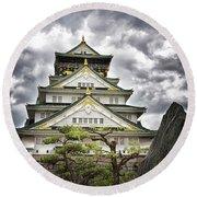 Storm Over Osaka Castle Round Beach Towel