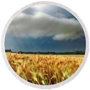 Storm Over Ripening Wheat Round Beach Towel