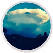 Storm Over Santa Fe Round Beach Towel