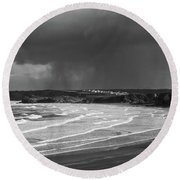Storm  Over The Bay Round Beach Towel by Nicholas Burningham