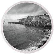 Storm Over The Eastern Shoreline Of Angra Do Heroismo Terceira Round Beach Towel by Kelly Hazel