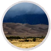 Storm Over The Great Dunes Colorado  Round Beach Towel