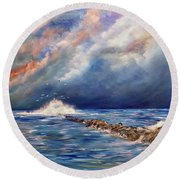 Storm Over The Ocean Round Beach Towel