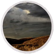 Storm Over The Piedmont Round Beach Towel