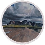 Storm Over The Superstitions Round Beach Towel