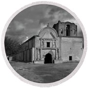 Round Beach Towel featuring the photograph Storm Over Tumacacori II by Sandra Bronstein