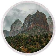 Storm Over Zion Round Beach Towel