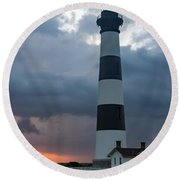 Storm Passes Bodie Island Lighthouse Round Beach Towel