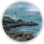 Storm Passing At Portland Head Light Round Beach Towel