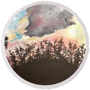 Storm Passing Through Round Beach Towel