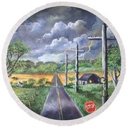 Round Beach Towel featuring the painting  Storm by Randol Burns