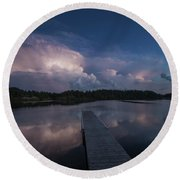 Round Beach Towel featuring the photograph Storm Reflection by Aaron J Groen