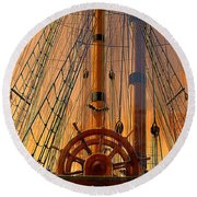 Storm Ship Of Old Round Beach Towel