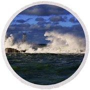 Storm Surf Batters Breakwater Round Beach Towel