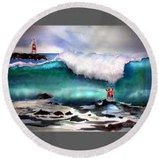 Storm Surf Moment Round Beach Towel