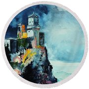 Round Beach Towel featuring the painting Storm The Castle by Tom Riggs