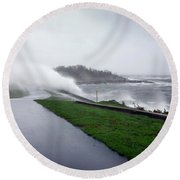 Storm Wall Round Beach Towel by Lon Casler Bixby