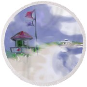 Storm Warning Round Beach Towel