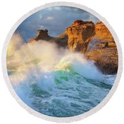 Round Beach Towel featuring the photograph Storm Watchers by Darren White