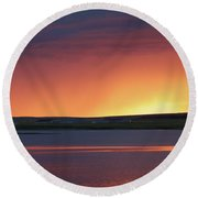 Round Beach Towel featuring the photograph Stormclouds After Dark by Heidi Hermes