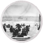 Storming The Beach On D-day  Round Beach Towel by War Is Hell Store