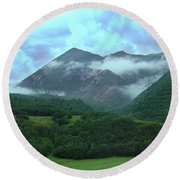 Round Beach Towel featuring the photograph Storm's End by Marie Leslie