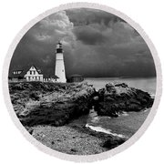 Storms Over The Head Bnw Round Beach Towel by Skip Willits