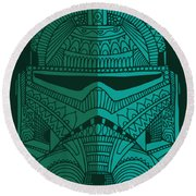 Stormtrooper Helmet - Star Wars Art - Blue Green Round Beach Towel