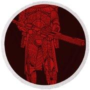 Stormtrooper Samurai - Star Wars Art - Red Round Beach Towel