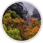 Stormy American Fork Canyon - Wasatch - Utah Round Beach Towel by Gary Whitton